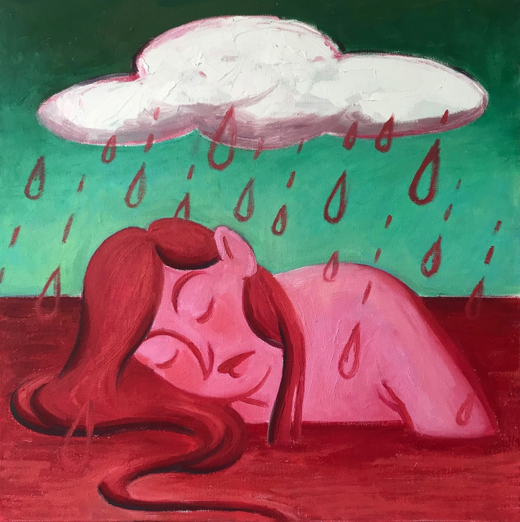 Square contemporary oil painting by Philadelphia, PA artist Elizabeth Virginia Levesque. A girl with pink skin and red hair is submerged up to her shoulders in a red sea. Her eyes are closed. She appears to be resting. Above her a large white cloud sits against teal green sky. Red rain drops pour from the cloud onto the girl and into the red ocean.