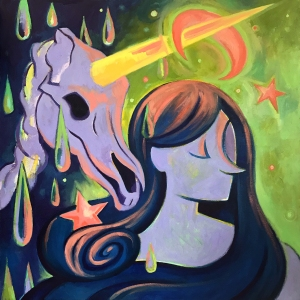 Square contemporary oil painting by Philadelphia, PA artist Elizabeth Virginia Levesque. A flat rendering of a girl with purple skin and blue hair is paired with a unicorn skeleton. A hot pink credence moon and stars dot the background of a chartreuse green sky. Large colorful drops of liquor stream down the left side of the composition.