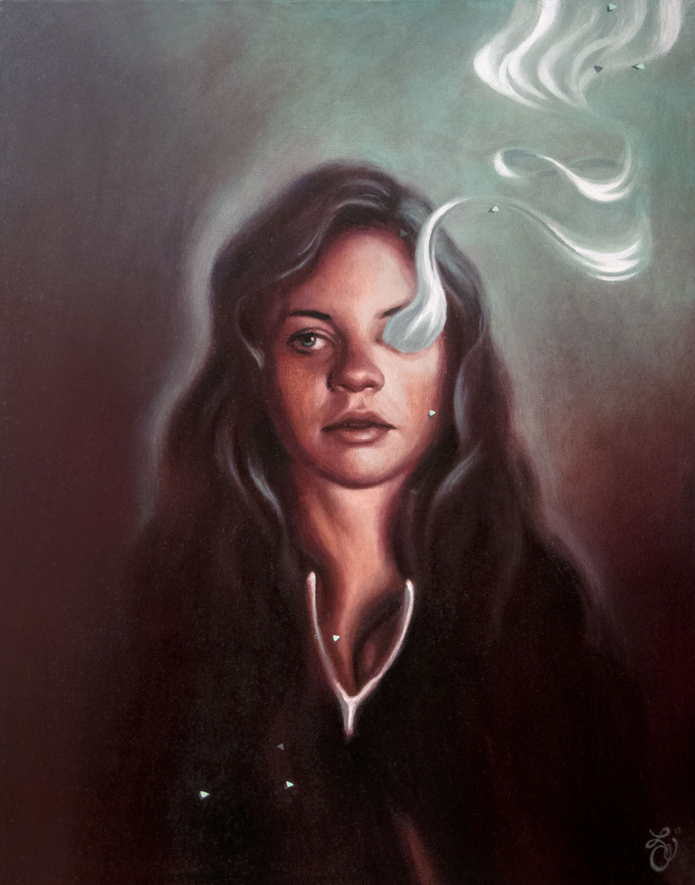 Large pop surrealist figurative portrait by oil painter from Philadelphia, PA Elizabeth Virginia Levesque. A young white woman with long, wavy dark hair is featured in the center of the canvas. A large wishbone hangs in the air eerily beneath her chin. Ectoplasm-like smoke floats out of her right eye socket and rises to the top right of the canvas. The vapour swirls into the shape of the symbol for infinity. The woman stares directly at the viewer. Her lips are slightly parts as if she is about to speak.