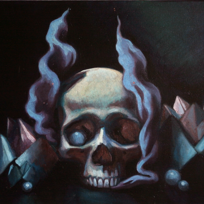 Contemporary vanitas still life oil painting by Philadelphia, PA artist Elizabeth Virginia Levesque. The top half of a skull sits in the center of the canvas. On each side are pink and blue folded paper fortune tellers and iridescent pearls. A large peal sits in one of the skull's eye sockets, mimicking a milk eyeball. Blue smoke emanates from beneath and around the skull and rises to the top of the composition. The lighting is dark and shadows extreme.