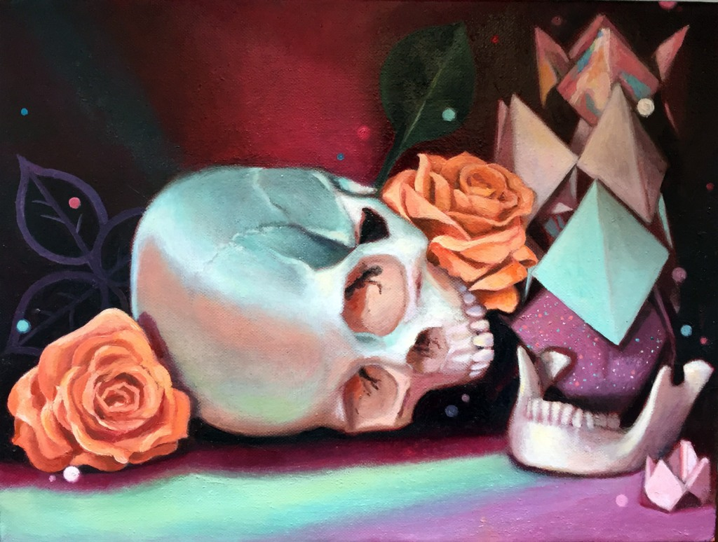 Contemporary vanitas still life oil painting by Philadelphia, PA artist Elizabeth Virginia Levesque. The top half of a white skull rests on its side in the center of the composition. In the right corner its the lower mandible. Orange roses, green leaves and a stack of colorful folded paper fortune tellers/cootie catchers frame the work. The still life is lit with surreal pink and green lighting.