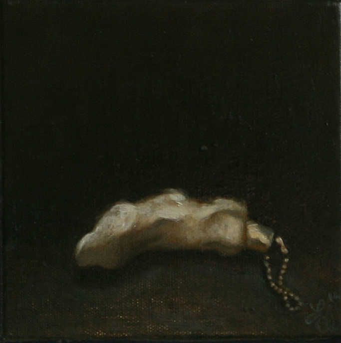 Small single object still life oil painting by Philadelphia artist Elizabeth Virginia Levesque. Painting is of a small white rabbit's foot on a brass chain.