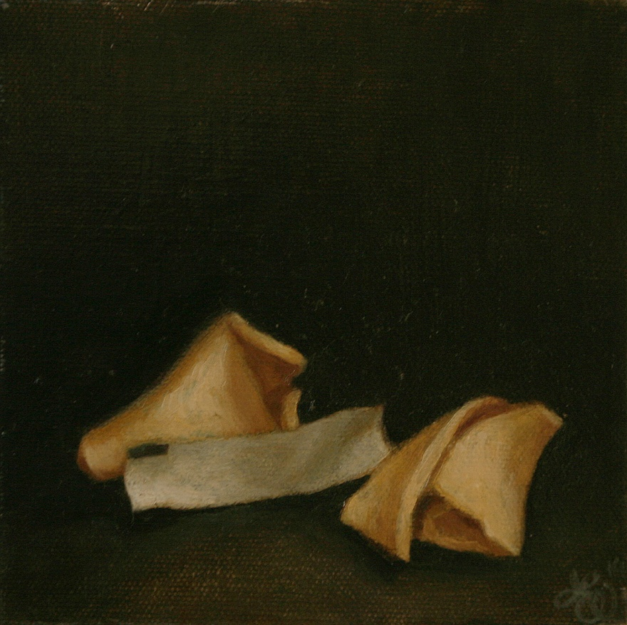 Small single object still life oil painting by Philadelphia artist Elizabeth Virginia Levesque. Painting is of a chinese restaurant fortune cookie broken in half. A blank fortune paper slip sits between the halves of the cookie.