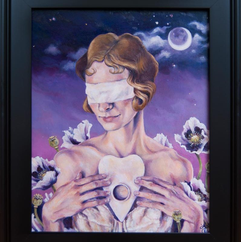 Oracle is a painting by oil painter Elizabeth Virginia Levesque. Painting shows the portrait of a young thin white woman. She has short dark blonde hair in curls. She is wearing a piece of cloth as a blindfold. She holds a planchette from a Ouija board over her chest. The backdrop is of a purple night sky. she is surrounded by blooming white poppy flowers.