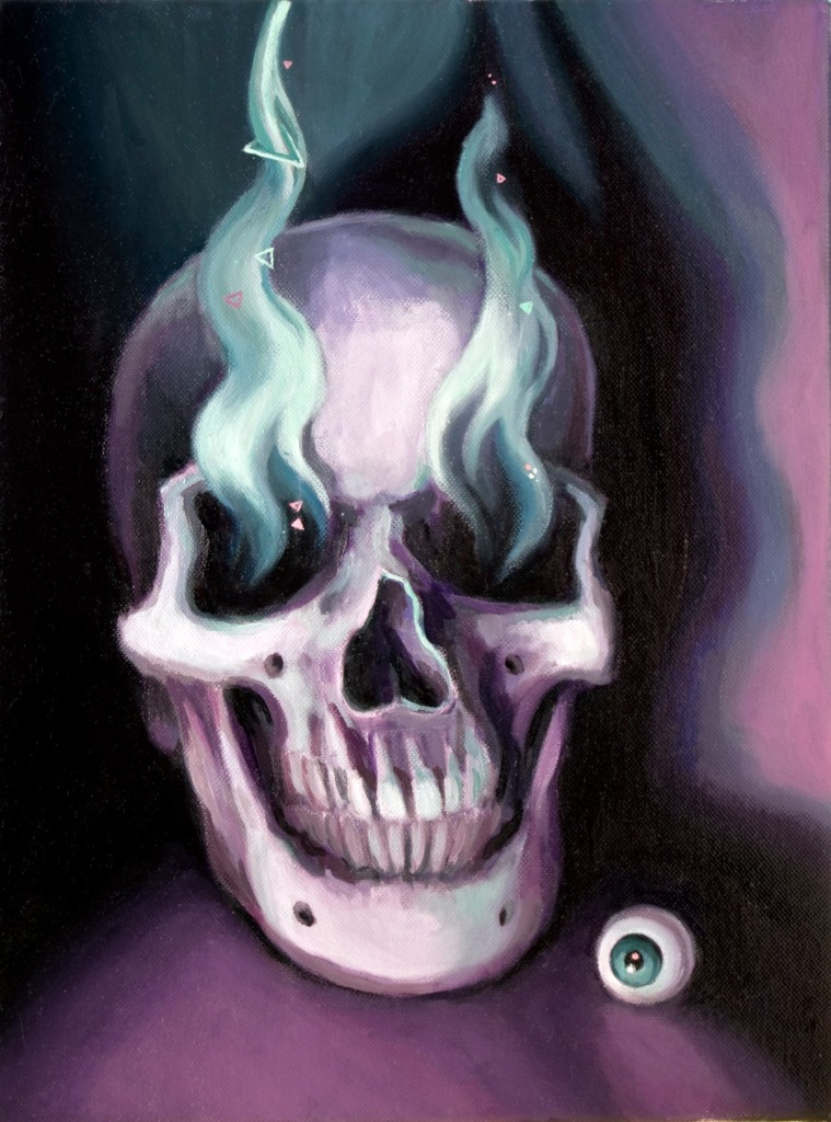 Contemporary vanitas still life oil painting by Philadelphia, PA artist Elizabeth Virginia Levesque. Seer features a large, intact human skull. To the skull's right sits a small round eyeball. Vapor like smoke rises out of the skull's eye sockets. The oil painting is mainly painted with purple, white, greens and blacks.
