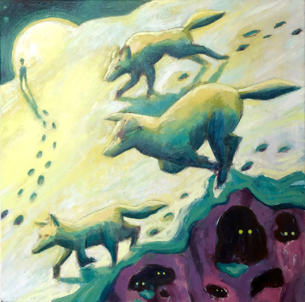Small illustrative contemporary oil painting by Philadelphia, PA artist Elizabeth Virginia Levesque. The painting is square and is of a winter scene. 3 wolves are running down a hill above a cliff face. A moon is setting over the hill. In front of the moon is the silhouette of a person at the end of a trail of foot prints in snow. The cliffs are purple and dotted with small caves. Yellow eyes glow from within the caves to look at the viewer.