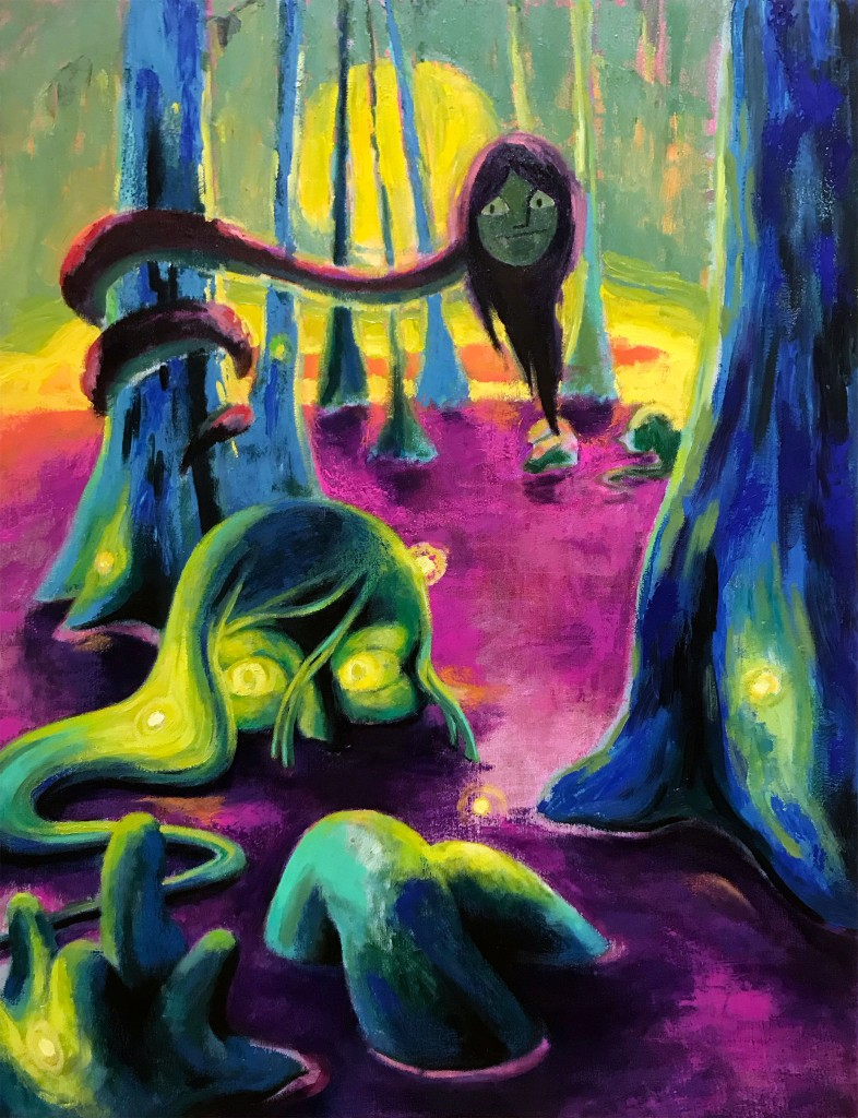 Oil painting by Philadelphia artist Elizabeth Virginia Levesque. The Knee Breathers is a painting of what appears to be a swamp with purple water. Blue cypress trees sprout from the swamp, Two strange women are submerged in the water up to their eyes. Only the tops of their heads and knees can be seen above the water. Fireflies light up the shadows. A snake like creature with a woman's head is wrapped around one of the trees and looks down on the women in the water. The sky is a pale warm green lit with a large yellow sun.