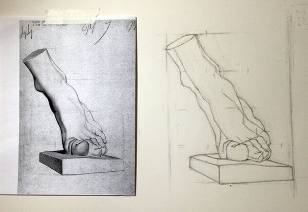 Picture shows a Bargue Plate drawing. On the left is a photocopy of an original Bargue plate. It's of a marble foot. On the right is an art students version of the same foot drawing.