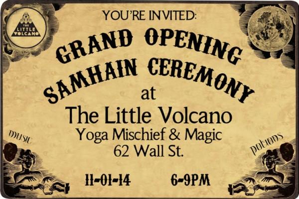 Samhain art show flyer at the Little Volcano in Asheville, NC.