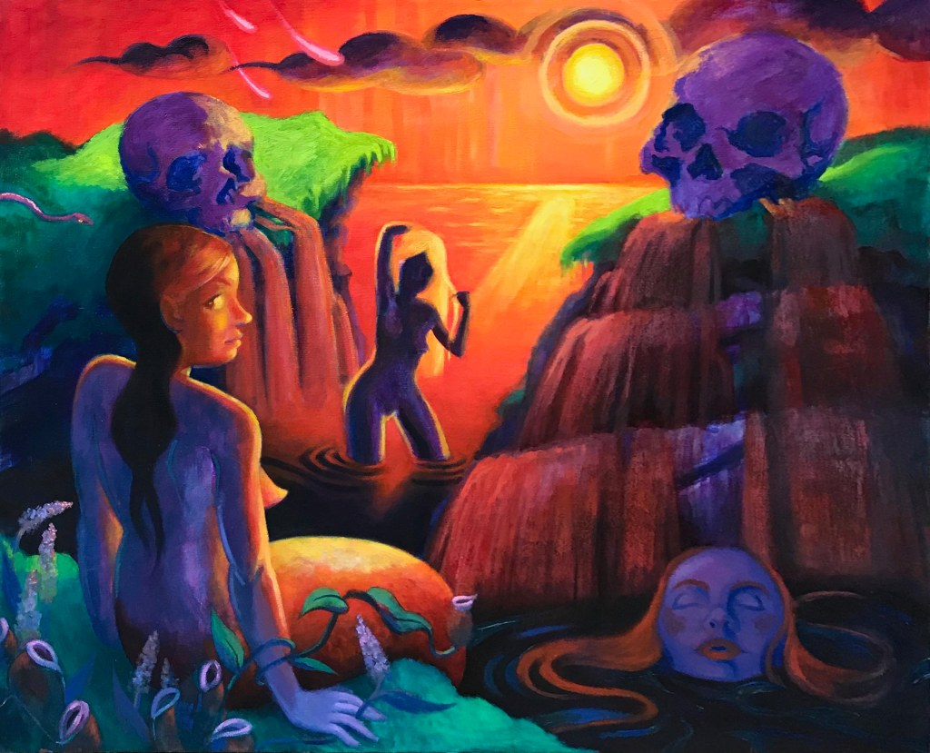 Large contemporary surrealist oil painting painted by Philadelphia artist Elizabeth Virginia Levesque during her last semester at the Pennsylvania Academy of the Fine Arts.
